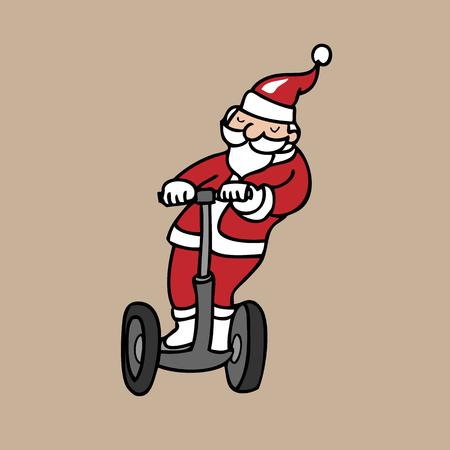 segway: Santa riding segway cartoon vector Illustration