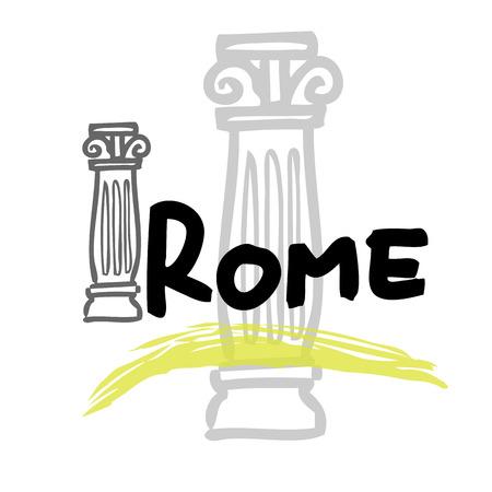doric: Rome travel poster cartoon vector