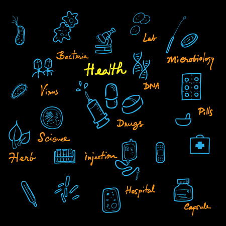 Health and science icons set cartoon vector