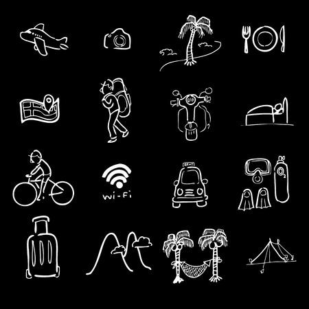 packer: Backpacker traveler icons cartoon vector
