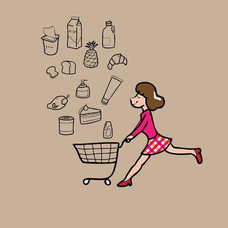 pushing: Woman pushing shopping cart cartoon vector