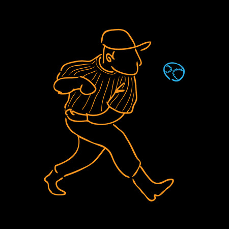 baseball pitcher: Baseball pitcher cartoon drawing vector Illustration