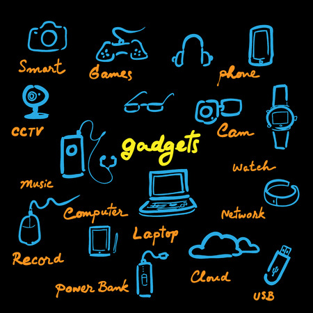 Computer gadgets pictogrammen instellen cartoon vector Stock Illustratie
