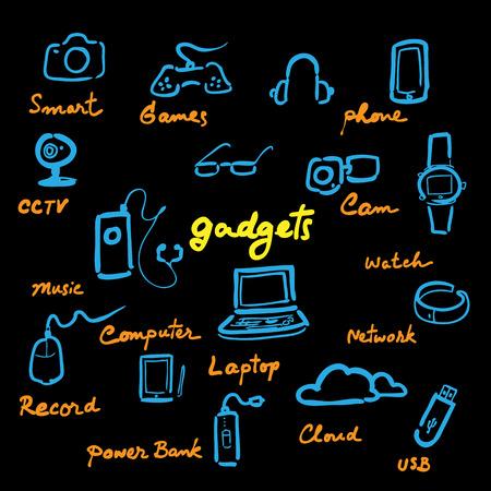 Computer gadgets icons set cartoon vector