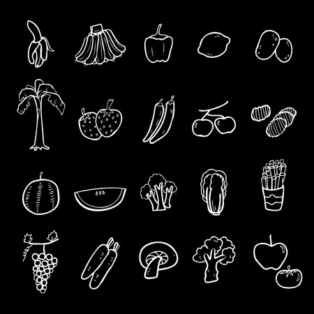 grapes and mushrooms: Fruits and vegetables icons set cartoon vector