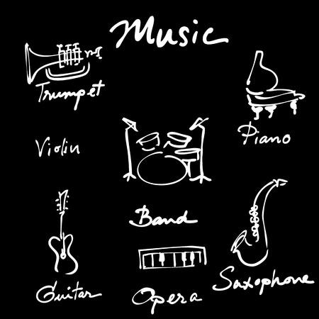 Instruments de musique ic�nes vectorielles de bande dessin�e mis en