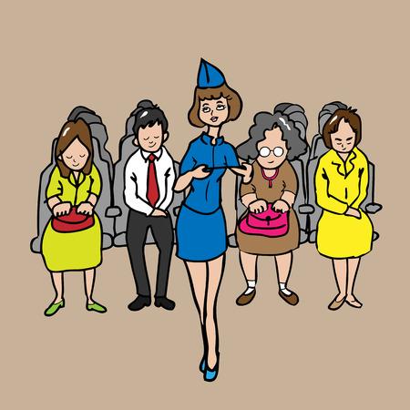 airhostess: Airhostess and passengers cartoon vector Illustration