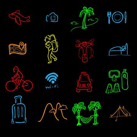 backpacker: Backpacker traveler icons cartoon vector
