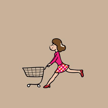 Woman pushing shopping cart cartoon vector