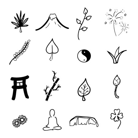 oriental medicine: Zen and spa icons cartoon vector