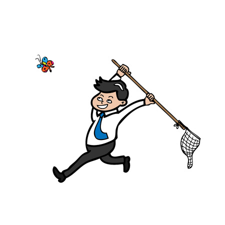 catching: Businessman catching butterfly by net cartoon