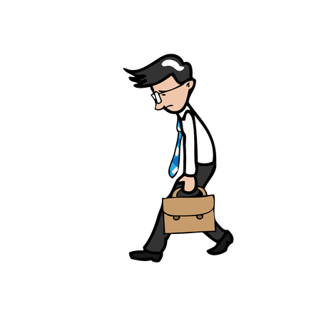 exhausted: Businessman exhausted walks slowly cartoon  Illustration