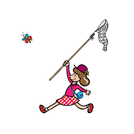 catching: Girl catching butterfly by net cartoon  Illustration