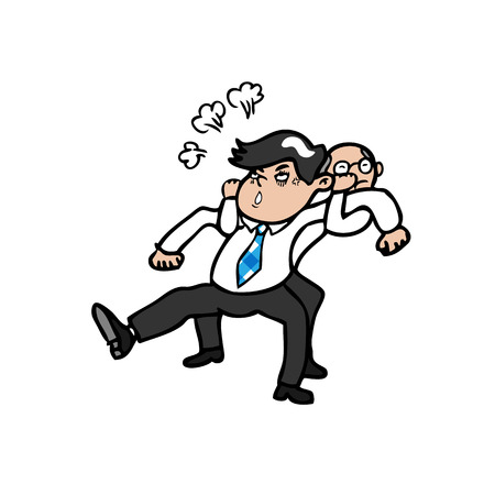 dissuade: Boss pull angry businessman from his back