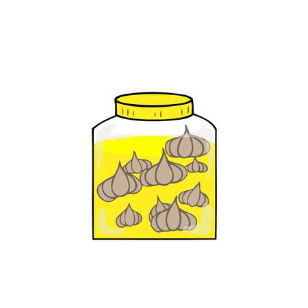 preserved: Jar of preserved garlic in salt water Illustration