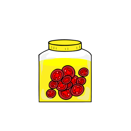 conserved: Jar of preserved sweeten tomatoes Illustration
