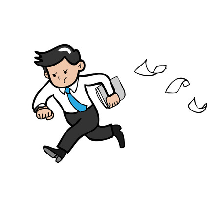 hurry: Businessman hurry running cartoon vector