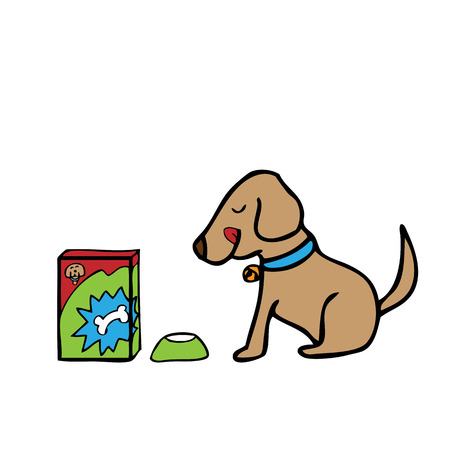 licking in isolated: Dog sitting wait for food cartoon vector