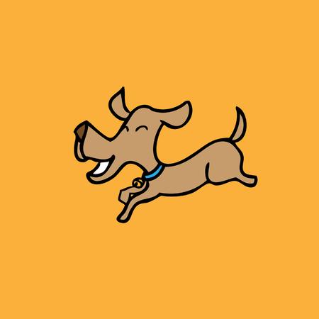 ilustracion: Perro feliz saltando vector de la historieta Vectores