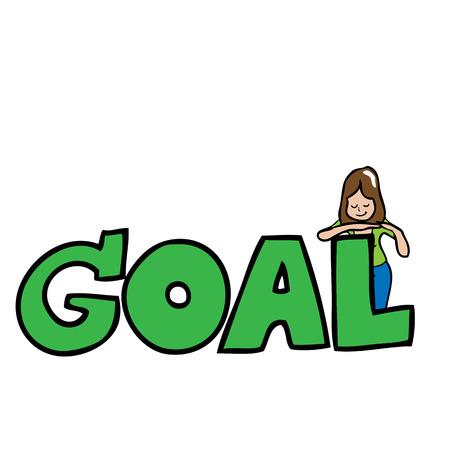 woman behind: Woman stands behind word goal cartoon vector