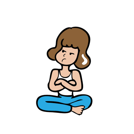 cross arms: Woman sitting cross legs and arms cartoon vector Illustration