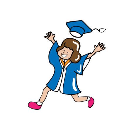 graduate asian: Graduated woman jumping cartoon vector