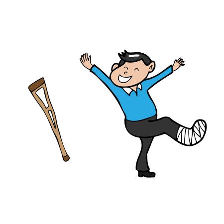 pierna rota: Hombre pierna rota vector de dibujos animados feliz Vectores