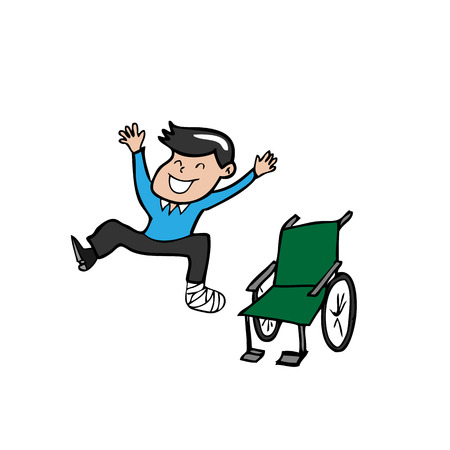 Man broken leg jump off wheelchair Vector
