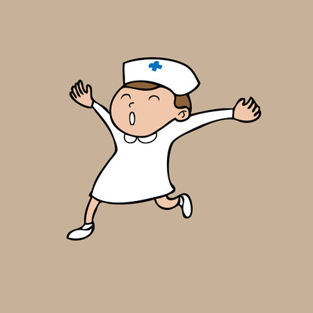 Nurse jumping happy cartoon vector Vector