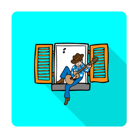 boy playing guitar: Boy singing and playing guitar on windows Illustration