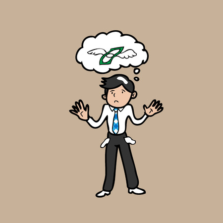 losing money: Man bankrupt character cartoon vector Illustration