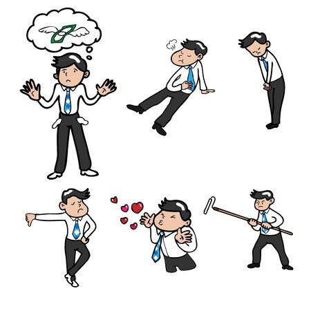 Businessman character icons cartoon vector Vector
