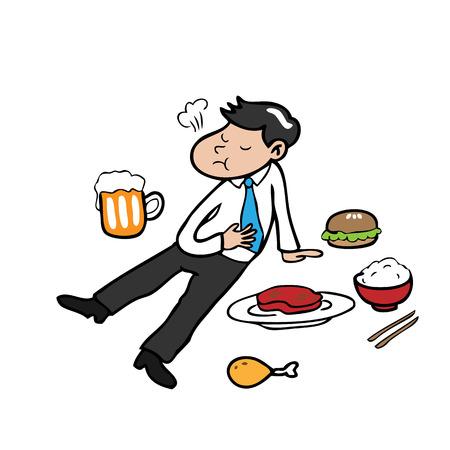 L'uomo mangiare troppo personaggio dei cartoni animati vettore Archivio Fotografico - 38018181