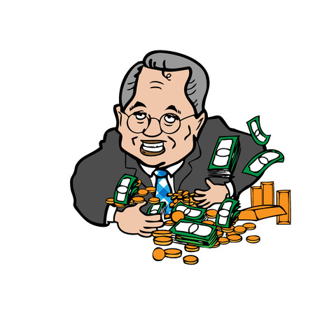 Man greedy of money cartoon vector