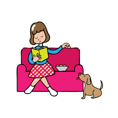 Woman sits on couch feeding dog Vector