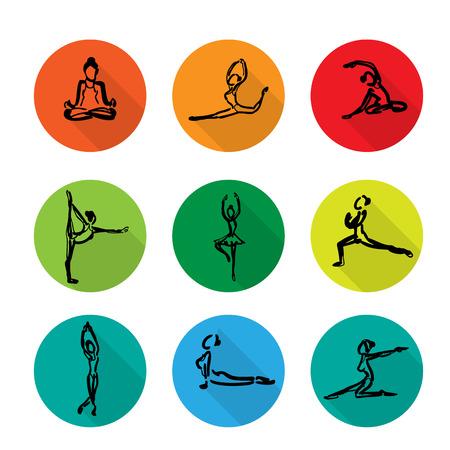 Yoga ballet icons set cartoon vector shadow Vector