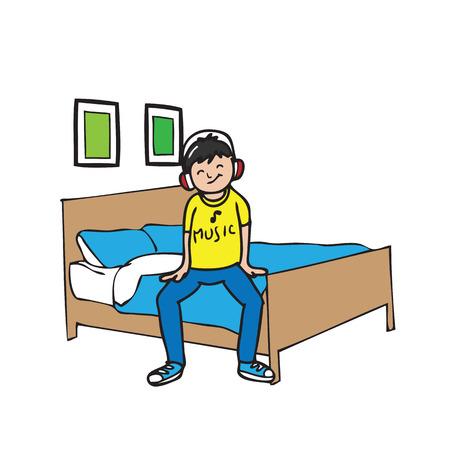 one bedroom: Boy wears headphone sits on bed Illustration