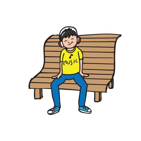 wears: Boy wears headphone sits on bench