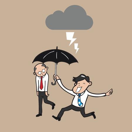 Businessman holding umbrella protect boss Vector