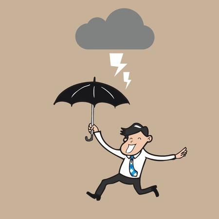 thunder storm: Businessman running in thunder storm Illustration