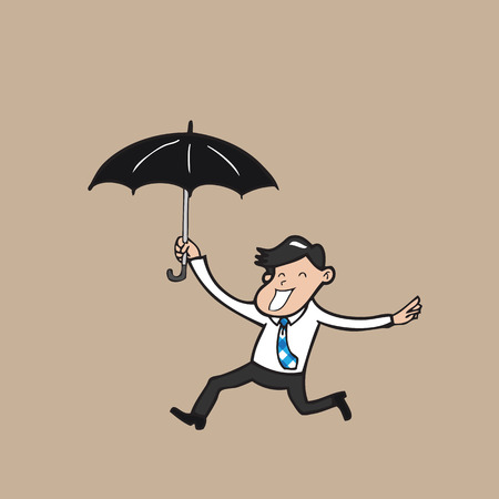 Businessman holding umbrella and running Vector
