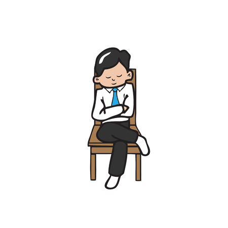 sits on a chair: Businessman sits cross legs on chair