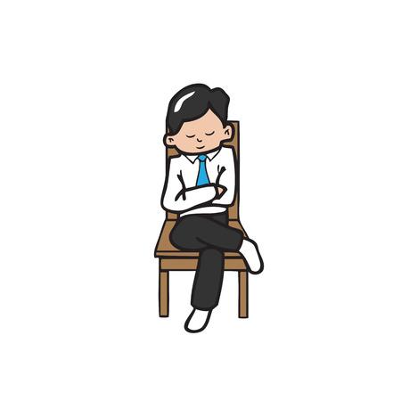 cross legs: Businessman sits cross legs on chair
