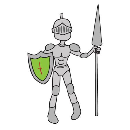 knight armor: Knight armor spear cartoon vector Illustration