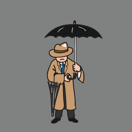 overcoat: Man in overcoat holding umbrella Illustration