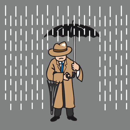 rain coat: Man in overcoat holding umbrella Illustration