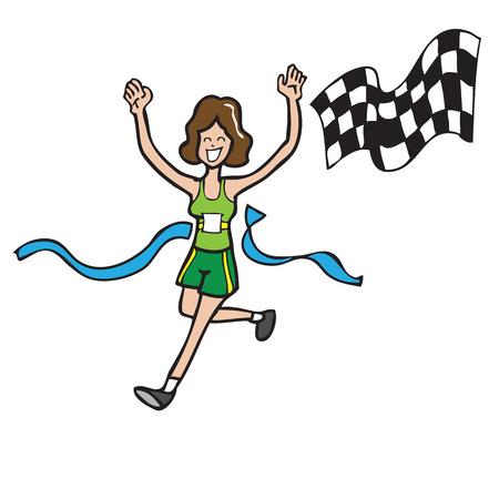Woman running finish line cartoon vector