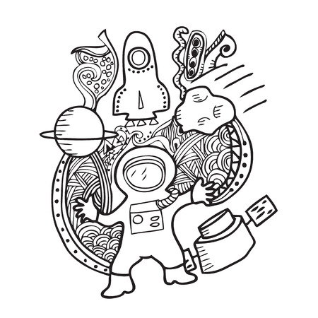 astronaut in space: Astronaut space doodle cartoon vector