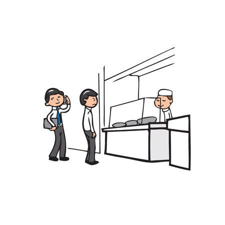 Businessman on waiting queue in canteen Vector