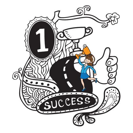 spotless: Businesswoman hold winner trophy doodle